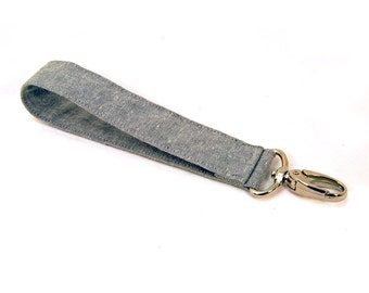Light Gray Linen Wide Wrist Strap - Wallet Strap - Linen Fabric Keychain - Wide Wristlet Strap - Grey Lanyard - Key Fob - Ready to Ship