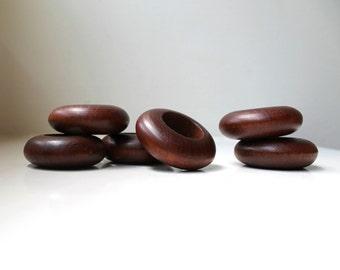 Vintage Modern Teak Napkin Rings Chunky Set of 6 Danish Modern