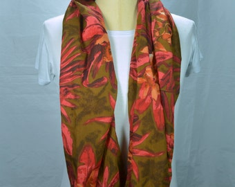 Lightweight Cotton Infinity Scarf Loop Scarf Tropical Scarf Floral Scarf Fashion Scarf