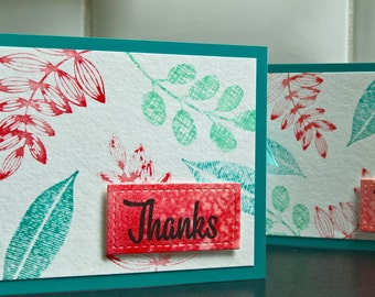 Watercolor Thank You Cards Set of 2, Floral Thank You Note Cards