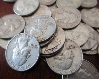 circulated US quarter - 90% silver, 1940s, 1950s, 1960s