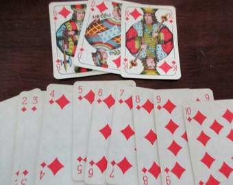 13 vintage Playing Cards - diamonds, red, blue, king, 1940s, 1950s