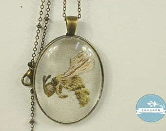 Hand Embroidered Needlepainted Little Bee Necklace Pendant