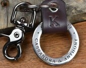 Personalized Keychain - Personalized Graduation Leather & Stainless Steel Key Fob - Hand Crafted in USA