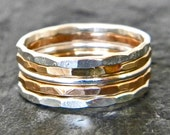 Silver and gold stacking thumb ring SET, set of five stackable band rings, serendipity handcrafted women's jewelry