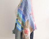 Sale Rustic Patchwork shawl- Bohemian wrap- upcycled shawl