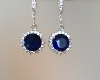 Sapphire Blue with Cubic Zirconia Academies Dangle Earrings- Fine Jewelry - Birthstone Jewelry- Wedding Earrings- Bridal Earrings