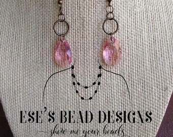 Antique Brass Earrings with Pink Rose Swarovski Crystals