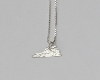 Tiny Virginia Necklace. Small Virginia State Shaped Charm. Virginia is For Lovers. Gold Virginia State Outline Pendant. Gift For Gal Pals.