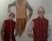 """1979 Drawstring ~ Zip & Button Vest Pattern McCall's 6848 Men's M 38-40"""" Chest. 70's BUFFALO PLAID VEST Pattern and More at WhiletheCatNaps"""