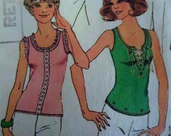 """1975 Slit Lace-Up or Scoop Neck Knit Tank Top Pattern Simplicity 6976 Miss S 8-10 Bust 32.5"""". 70's SEXY TANK TOP Pattern at WhiletheCatNaps"""