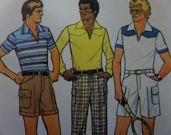 TENNIS SHORTS Pattern • Simplicity 8052 • Mens 44 • High Waist Pants • Cargo-Style Shorts • Yoked Pullover • Mens Patterns • WhiletheCatNaps