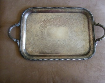 Vintage Silverplate Tray with Handles and Nice Inscribed Designs