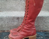70's Lace Up Boots, Tall, Soft, Supple Leather, by ZODIAC
