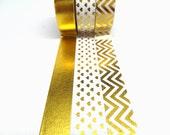 Gold Foil Hearts, Soild Gold Foil, Gold Foil Chevron Washi Tape Set of 3