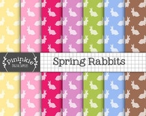 50% OFF SALE Easter Bunny Digital Paper, Spring Rabbit Digital Paper, Instant Download, Commercial Use, Pink Scrapbook Paper, New Baby Digit