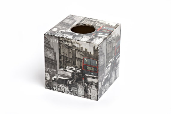 London Sightseeing  Design Tissue Box Cover wooden