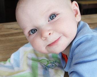 Baby Lovie - Yellow, Green and Blue Chevron - soft luvie