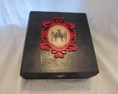 Gothic Victorian Antique Style Framed Bat Print Red & Black Keepsake Stash Box