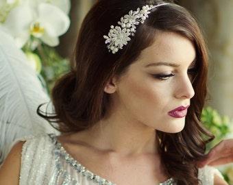 Side Headband, Gold headband,  pearl headband, bridal headband, gold headband, silver side headband, wedding headband, floral side tiara,
