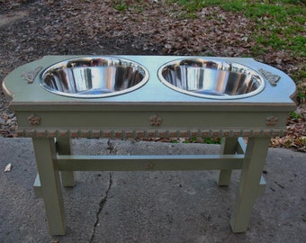 Wooden Elevated Dog Feeder 2 Large Three Qt Bowls, Cottage Chic, Raised, Dusty Olive Dog Feeding Stand, Stainless Bowls Made to Order