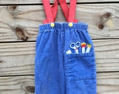 "Vintage ""Back To School"" Royal Blue Baby Suspender Style Corduroy Overall Pants - 24 mo."
