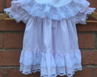 Vintage Bryan Baby Girk Pink Dress / 3-6 Months / Lace & Ruffles