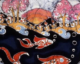 Fish in a Rainbow Circle - batik print from original