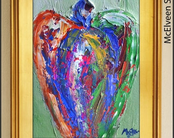 Guardian Angel # 100516 - Original Abstract Oil Painting Expressionist Modern Angel Art  by Claire McElveen Available Framed As Shown