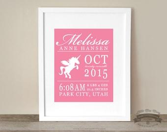 Baby Unicorn Theme, Statistics, Birth Details, Custom Art Print, Room Decor, 8x10 Print, Unicorns