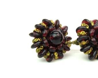 Garnet Red Cluster Earrings. Czech Glass Bead & Gilt Metal Flowers. Signed Czechoslovakia. Hand Wired, Screw Backs. Vintage 1930s Jewelry.