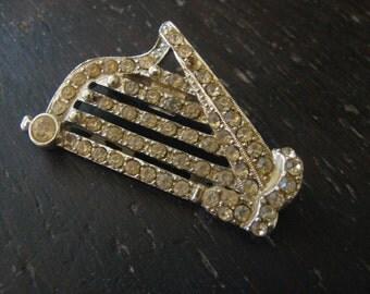 OLD rhinestone harp  brooch with pastes rhinestones