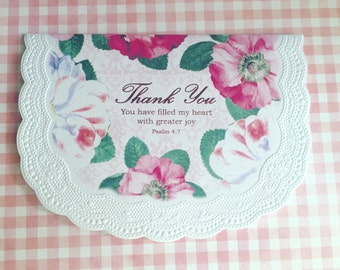 Shabby Chic Roses Thank You Card, Thank You Greeting Card, Vintage Roses Card, Thank you Doily Card