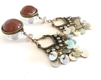 "1/2"" Dangle Plugs, Chandelier Dangle Gauges, 000g Ear Plugs Rhinestones Shell Beads 7/16"" 9/16"" Bohemian Dangly Plugs 12mm 14mm 11mm"