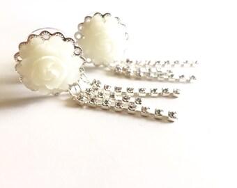 "Bridal Plugs 5/8"" Dangle Plugs, 16mm Rose Gauges Choose Color Dangly 5/8 Gauged Earrings Rhinestone Dangle White Wedding Plugs"