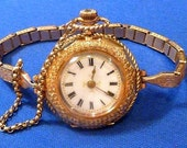 RESERVED - Antique Victorian SOLID 14K Yellow Gold & Enamel Case Ladies Wristwatch Swiss WORKING