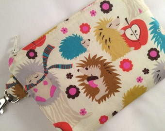 Colorful Hedgehogs Small Zippered Pouch, Coin Purse, Notions Case, Vegan Bag, Handmade Bag