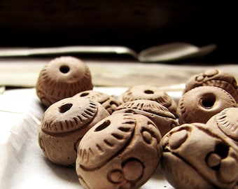 vintage clay beads - large pottery nuggets with impressed patterns - 18mm