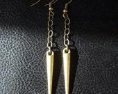 Minimalist spike earrings, antique brass tone modern rocker spike drop earrings