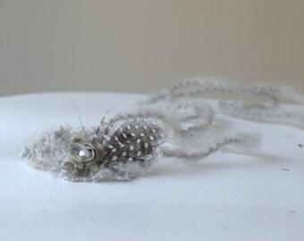 Newborn Feather Tieback. Grey Feather Prop. Baby Feather Headband. Girls Headpiece. Grey Tieback. Newborn Photography Prop. UK Seller