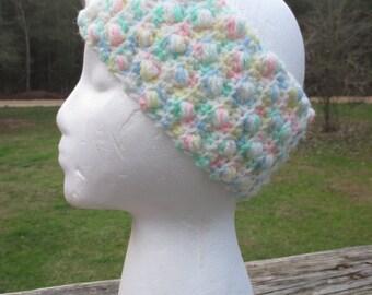 Varigated Pastel Crocheted Headband--Ear Warmers--Mulit Colored Bobble Headband--Cold Weather Head Wear