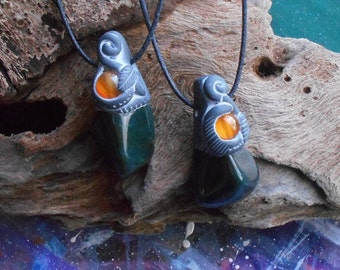 RESERVED~ Twin Bloodstone and Carnelian Pendants in dark clay~