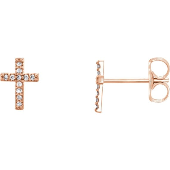 religious jewelry cross earrings rose gold crosses