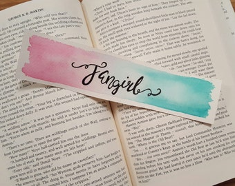 Fangirl Watercolor Bookmark, Gift For Booklover, Bibliophile, Young Adult Book Merch, Rainbow Rowell
