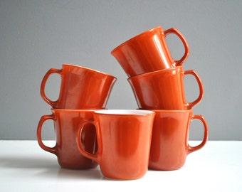 Vintage Pyrex Mug Collection - Pumpkin Orange