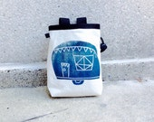 ROADTRIPPIN..  handcarved, blockprinted, rock climbing chalk bag..ready to ship.