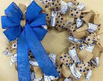 University of Kentucky, Kentucky wreath, UK wreath, Kentucky Wildcats, college wreath, UK Cats, Burlap Blue White - Basketball Football