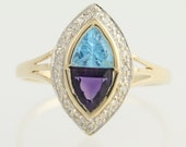 Blue Topaz, Amethyst, and Diamond Ring - 10k Yellow & White Gold 1.04ctw N394
