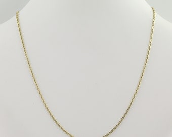 "Modified Cable Chain Necklace 15 1/4"" - 14k Yellow Gold Spring Ring Clasp L9226"