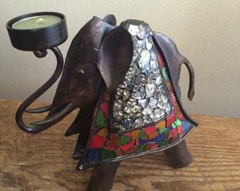 Vintage Eastern Elephant Candle Holder Figurine Statuette Home Decor Mosaic Glass Mirror Metal Boho Hippie Gypsy Bohemian Good Luck Gift